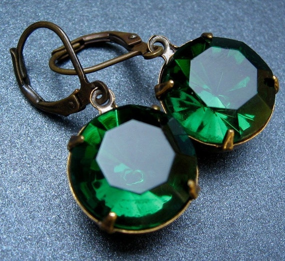 Emerald Jewel Earrings - Vintage Glass Jewels, Antique Brass Leverbacks