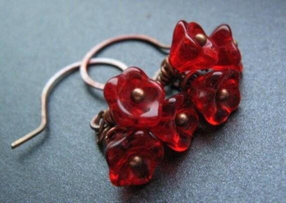 Red Flower Earrings, Czech Glass Flowers, Oxidized Copper Earwires - On Fire