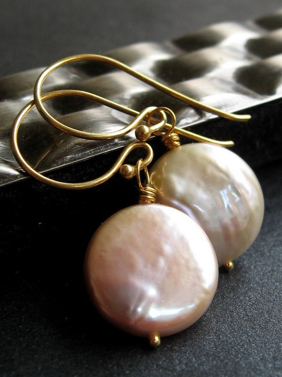 Pink Pearl Earrings, Freshwater Pearls, Gold Earrings, June Birthstone, Blush Pink, 14K Gold Filled - If I Had A Coin