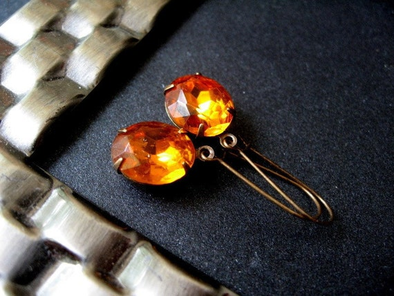 Amber Jewel Earrings - Vintage Amber Glass Jewels, Antiqued Brass Kidney Earwires