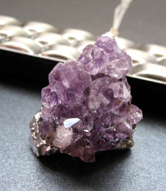 Amethyst Druzy Necklace, Silver Plated Amethyst Pendant Geode, Sterling Silver Chain, February Birthstone - Dark Crystal