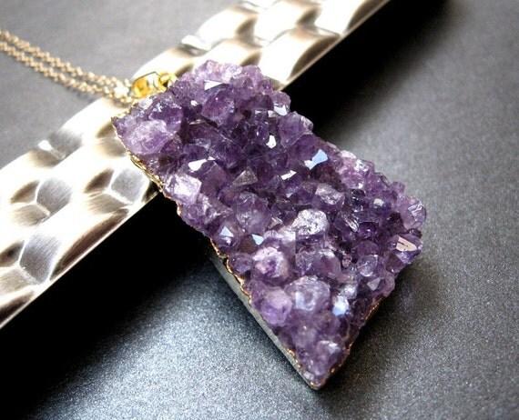 Amethyst Druzy Necklace, Gold Plated Amethyst Pendant, 14K Gold Chain, February Birthstone, Amethyst Necklace - Dark Crystal