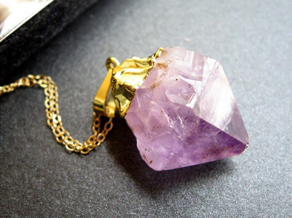 Amethyst Chunk Necklace, Amethyst Geode Pendant, 14K Gold Chain - Purple Haze