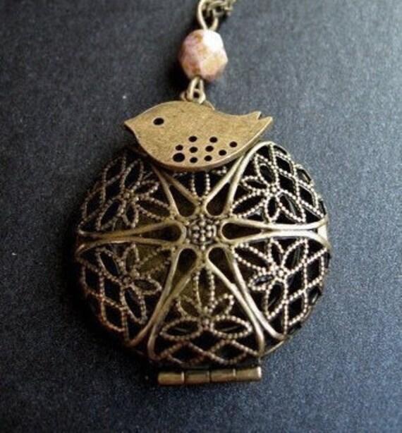 Antiqued Locket Necklace, Brass Sparrow Charm, Brass Filigree Lace Locket, Antique Brass Chain - Free Bird