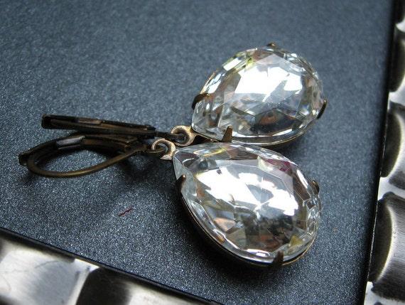 Crystal Jewel Earrings, Vintage Crystal Clear Glass Jewels, April Birthstone, Antiqued Brass Kidney Earwires