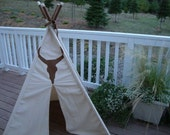 Natural Duck Cloth - Texas Longhorn Teepee - Free US Shipping