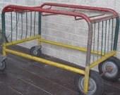 SALE  vintage industrial cart 1950s Post Office cart on wheels