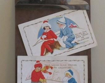 Vintage VALENTINE postcards set of 2 winter fun sled
