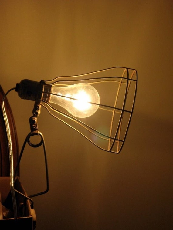 vintage workman's cage  lamp REWIRED for today