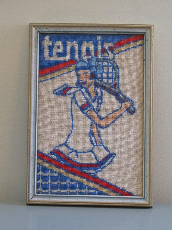 vintage framed TENNIS needlepoint