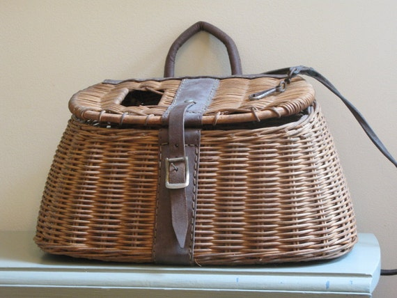 vintage fishing creel leather and wicker 1940s
