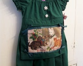 SALE Green Christmas apron dress 12 18 months