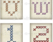 Cross-Stitch Alphabet and Number Set - INSTANT DOWNLOAD - 8.5 x 11 inch Printable Digital Collage Sheet - with 40 - 1 Inch Square Images