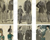 Vintage Victorian Men - INSTANT DOWNLOAD -  8.5 x 11 inch Printable Digital Collage Sheet - with 25 - 1 x 2 inch domino size images