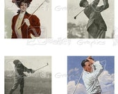 Vintage Golf - INSTANT DOWNLOAD - 8.5 x 11 inch Printable Digital Collage Sheet - with 35 - 1 Inch Square Images