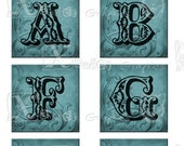 Vintage BLUE Alphabet and Number Set - INSTANT DOWNLOAD -  8.5 x 11 inch Printable Digital Collage Sheet - with 40 - 1 Inch Square Images