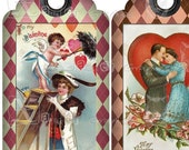 Argyle Valentine Vintage TAGs - INSTANT DOWNLOAD - 8.5 x 11 inch Printable Digital Collage Sheet - 3.5 inch x 2 inch Gift TAGs