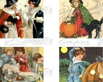 Vintage Halloween II - INSTANT DOWNLOAD - 8.5 x 11 inch Printable Digital Collage Sheet -  with 40 - 1 Inch Square Images