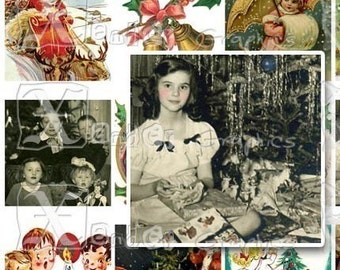 Vintage Christmas III - INSTANT DOWNLOAD - 8.5 x 11 inch Printable Digital Collage Sheet -  with 56- 1 Inch Square Images