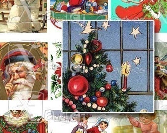 Vintage Christmas II - INSTANT DOWNLOAD -  8.5 x 11 inch Printable Digital Collage Sheet -   with 56 - 1 Inch Square Images