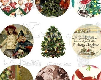 Vintage Christmas III - INSTANT DOWNLOAD - Circles 8.5 x 11 inch Printable Digital Collage Sheet - with 56 - 1 Inch Circle Images