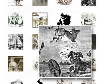 Vintage Nursery - INSTANT DOWNLOAD -  8.5 x 11 inch Printable Digital Collage Sheet -  with 35 -  1 Inch Square Images