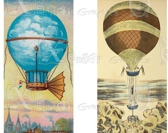 Vintage Hot Air Balloons - INSTANT DOWNLOAD - 8.5 x 11 inch Printable Digital Collage Sheet - with 20 - 1 x 2 inch domino size images