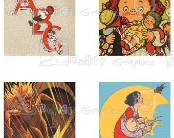 Vintage Children Storybook Illustrations III - 8.5 x 11 inch Printable Digital Collage Sheet - with 35 - 1 Inch Square Images