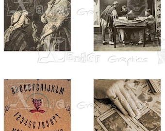 Vintage Fortune Teller - INSTANT DOWNLOAD -  8.5 x 11 inch Printable Digital Collage Sheet - with 30 - 1 Inch Square Images