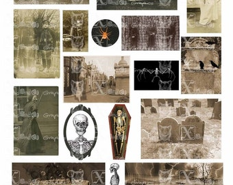 Vintage Haunted - INSTANT DOWNLOAD - 8.5 x 11 inch Printable Digital Collage Sheet