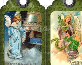 Angel (GREEN) Vintage Holiday TAGs - 8.5 x 11 inch Printable Digital Collage Sheet - with ten 3.5 inch x 2 inch Gift TAG Images