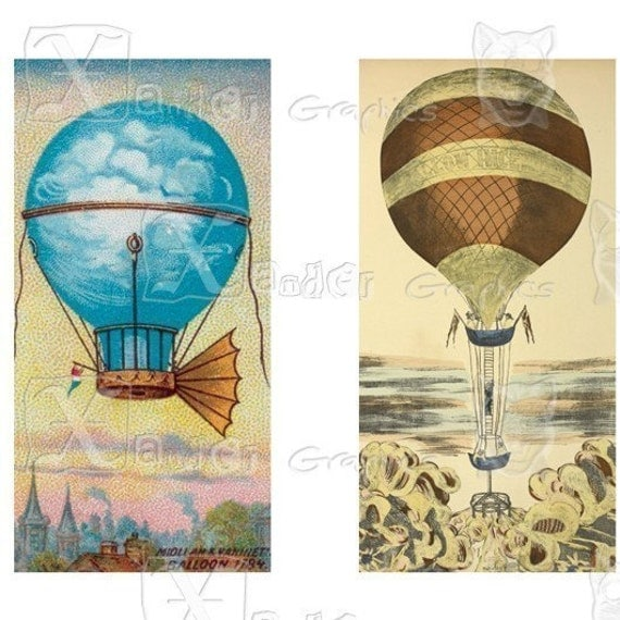 Vintage Hot Air Balloons 8.5 x 11 inch Printable Digital