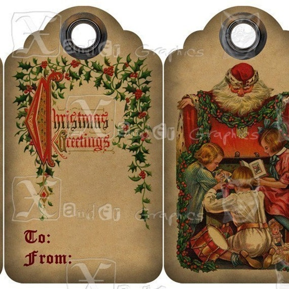 Vintage Christmas TAGs - 8.5 x 11 inch Printable Digital Collage Sheet - with ten 3.5 inch x 2 inch Gift TAG Images