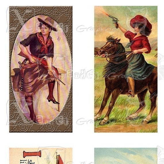 Vintage Wild West Cowgirl - INSTANT DOWNLOAD - 8.5 x 11 inch Printable Digital Collage Sheet - with 20 - 1 x 2 inch domino size images