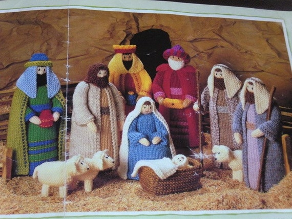 Knitting Pattern Christmas Crib Nativity Scene Booklet : Hand knitted Nativity Characters/Scene