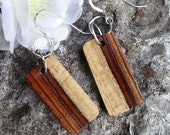 Wooden Dangle Earrings - Rustic Cocobolo Wood - Desert Rose from The Natural Statements Collection