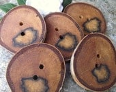 Wooden Buttons - 5 Birch Wood Tree Branch Buttons with Bark - 2 1/8  x 2 inches, 2 holes, Perfect for Journals, Pillows, Purses, Fiber Arts