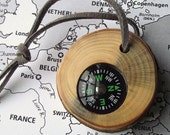 Wooden Compass - Handmade from a Reclaimed Pine Wood Tree Branch - Pocket Survival for Hiking, Camping, Gift for Nature Lover, Ornament
