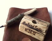 Wood Pen Holder - Eco-Friendly and Personalized Wood Burned Ohio Maple Wood Guest Book Pen Holder - For Outdoor Cottage or Woodland Wedding
