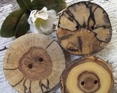 Wood Buttons - Eco-Friendly Wooden Pin-Back Tree Branch Button Brooch (Set of 3) - 2 holes, Perfect for Wraps and Totes