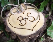 Personalized Ring Bearer Wood Slice - Eco-Friendly Wood Burned Persimmon Wood - Rustic Eco-Chic for Outdoor Cottage or Woodland Wedding