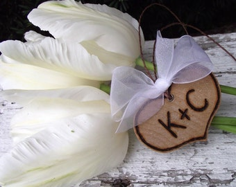 Wood Heart Bouquet Charm - Personalized and Natural Wooden Charm for the Bride's Bouquet - Woodland Fairy Tale Wedding