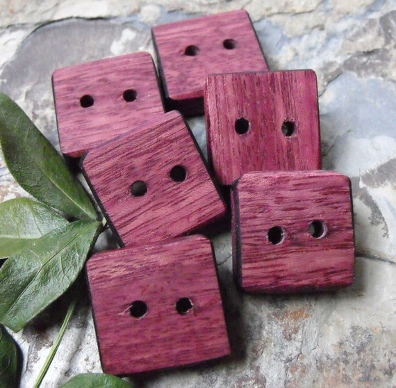 Wonderful Chunky Square Purpleheart Wooden Buttons (Set of 6)