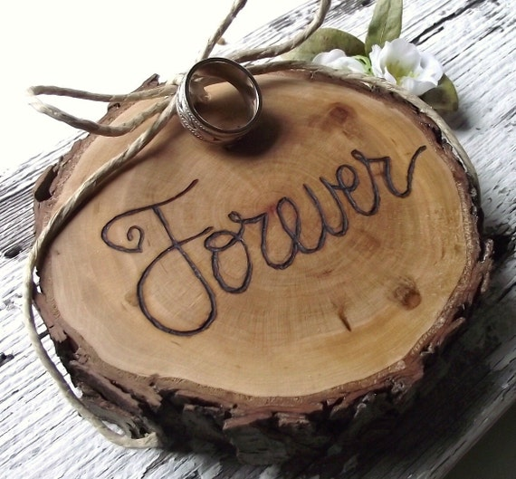 Ring Bearer Wood Slice - Eco-Friendly Wood Burned Ohio Cherry Wood - Rustic Eco-Chic for Outdoor Cottage or Woodland Wedding