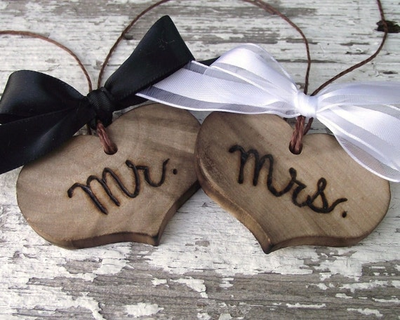 Mr. and Mrs. Wood Heart Charms - Wood Burned Toasting Glass Heart Charms - Rustic for an Outdoor Barn Wedding