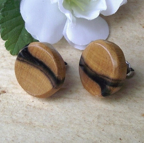 Black & White Ebony Wood Wooden Stud/Post Earrings - Handmade Round Wood Post Earrings - Gift idea for Birthday, 5-Year Anniversary