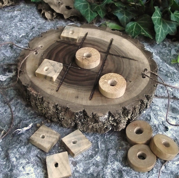 RESERVED - 2 Wood Tic-Tac-Toe Games - Eco-Friendly Wooden Game Handmade from Reclaimed Wood Tree Branches - A Green Game