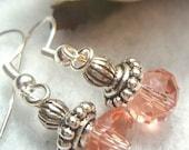 Georgia Peach Crystal Dangle Earrings