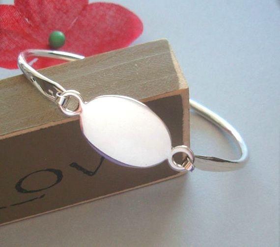 Sterling Silver Engravable Oval Bangle Bracelet