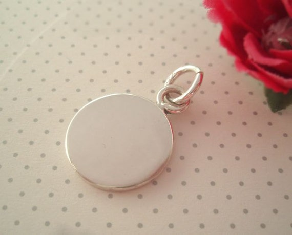 Engravable Sterling Silver Round Charm - 3/4 inch